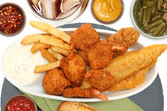 Southern Fried Fish, Chicken and Shrimp Royalty Free Stock Photography