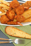 Southern Fried Fish, Chicken and Shrimp Royalty Free Stock Images