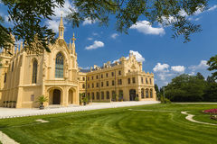 Southern frontage of the castle Lednice Royalty Free Stock Images