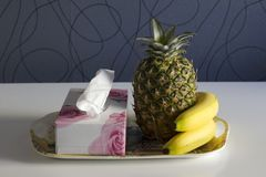 Southern fruit pineapple & bananas Royalty Free Stock Photo
