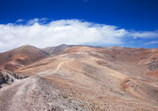 Southern Fuerteventura, Jandia. Path towards Pico de Zarza, highest point of the island Stock Photos