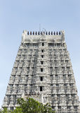 Southern Gopuram of Thiruvannamalai temple. Southern Gopuram of Thiruvannamalai temple seen from inside the temple complex stock images