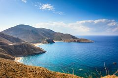 Greek coastline on Peloponnese, Mani Peninsula. Southern Greece Mani Peninsula. Sea landscape rocky coastline, Peloponnese stock photos