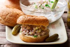 Southern ham salad sandwich.style rustic. Selective focus Royalty Free Stock Photography