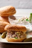 Southern ham salad sandwich.style rustic. Selective focus Royalty Free Stock Photos