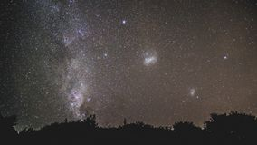 Southern Hemisphere Milky Way. With a brief appearance from the edge of the visible milky way arm, the Magellanic Clouds shine in full glory stock photography