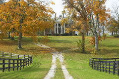 Southern home in historic horse country of Lexington Kentucky in autumn Royalty Free Stock Photo