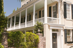 Southern house with porch. Details of a Southern house with a full porch or piazza. Charleston, South Carolina Stock Photos