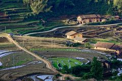 Pastoral scenery. In southern Jiangxi, hostel hut, terrace aspect, pastoral scenery Qianmo traffic stock photography