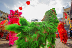 Southern Lion Dance at Eye Opening ceremony, Lady Thien Hau pagoda, Vietnam Stock Photo