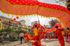 Southern Lion Dance at Eye Opening ceremony, Lady Thien Hau pagoda, Vietnam Royalty Free Stock Image