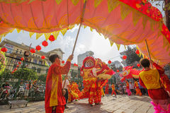 Southern Lion Dance at Eye Opening ceremony, Lady Thien Hau pagoda, Vietnam Stock Photography