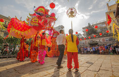 Southern Lion Dance at Eye Opening ceremony, Lady Thien Hau pagoda, Vietnam Royalty Free Stock Photo