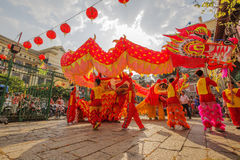 Southern Lion Dance at Eye Opening ceremony, Lady Thien Hau pagoda, Vietnam Royalty Free Stock Photography