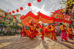 Southern Lion Dance at Eye Opening ceremony, Lady Thien Hau pagoda, Vietnam Stock Photos