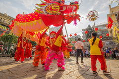 Southern Lion Dance at Eye Opening ceremony, Lady Thien Hau pagoda, Vietnam Royalty Free Stock Images
