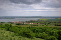 Southern Moravia Landscape. SE direction view from the Palva Range on Pavlov village surrounded by the trees, vineyards and the lake. This is the most famous Royalty Free Stock Photography