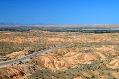 Southern Nevada Desert Landscape. And road Outside Of The Town Of Logandale Clark County stock image