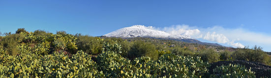 Southern Panorama of snow covered Etna volcano Stock Image