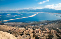 Pools plants Dead Sea. The southern part of the Dead Sea, is divided into pools from which extract minerals Royalty Free Stock Photography