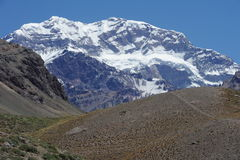The southern part of Mount Aconcagua. On argentina andes Stock Photos