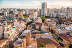 Southern part of Nicosia, aerial view with tilt-shif effect. Cyprus Royalty Free Stock Image