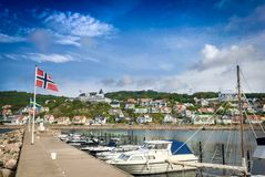 Nordic landscape with colorful houses Royalty Free Stock Images