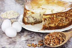 Southern Pecan Cheesecake Stock Photos