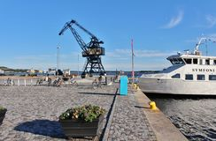 Southern port in Luleå. On the south beach there is a kiosk, sandy beach, seating furniture and umbrella, barbecue areas, concrete ping pong table, volleyball royalty free stock image