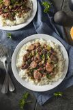 Southern Red Beans and Rice. With Andouille Sausage stock photography