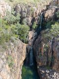 Southern Rockhole waterfall hidden in the middle of Katherine Gorge, view of drone, Australia stock photo