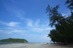 Southern sea in Thailand. Blue sky, white sand and fresh trees make tourist relax, comfortable and enjoy their weekends. great sight-seeing in asean and asia Royalty Free Stock Photos