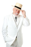 Southern Senior Man - Chivalry. Handsome Southern senior man tipping his hat, with old fashioned chivalry.  Isolated on white Stock Photo