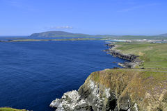 Southern Shetland. View from Sumburgh Head, Dunrossness, Shetland, Scotland, looking across the West Voe to Ness of Burgi royalty free stock photo