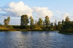 Southern shore of the Lake in September. Rural Lake in Nizhny Novgorod region stock photography