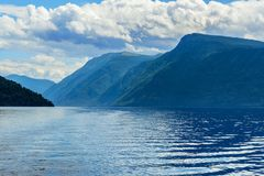 Southern shore of Teletskoye Lake in the morning. Altai Republic. Russia Royalty Free Stock Images