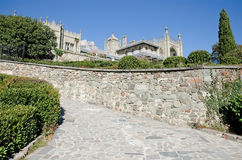 Southern side of the Vorontsov Palace. Architectural landmark - Southern side of the Vorontsov Palace in Alupka, Yalta, Crimea stock images