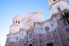 Whitestone cathederal towering over Cadiz. royalty free stock image