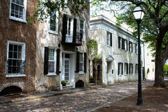 Southern style homes on Gillion St. Charleston, SC Royalty Free Stock Photography