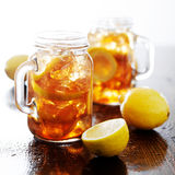 Southern sweet tea in a rustic jar royalty free stock image