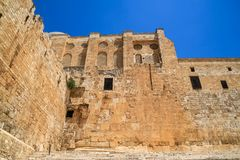 The Southern Temple Mount Wall at the Double Gate area in old city Jerusalem. Israel royalty free stock images