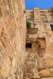 The Southern Temple Mount Wall at the Double Gate and Crusader Wall section in old city Jerusalem. Israel royalty free stock photos