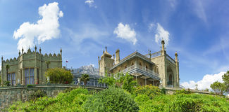 Southern terraces of the Vorontsov Palace. Yalta, Alupka, Crimea, Russia. Sunny summer day stock photography
