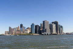 Southern tip of Manhattan Island with all the many landmark buil. Seen here is the tip of Lower Manhattan featuring the many skyscrapers as well as the Staten Stock Image