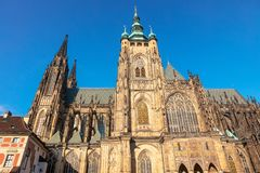 Southern tower of St Vitus Cathedral in Prague, Czech Republic. St Vitus Roman Catholic Metropolitan Cathedral in Prague, the seat of the Archbishop of Prague royalty free stock photo