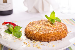 Southern Turkish Kunefe Dessert Served After a Nice Meal Royalty Free Stock Photo