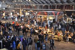 Southern view of the Foodfestival. Amsterdam, the Netherlands - November 29, 2015: Visitors enjoying the event in front of the Bar Jackson Dubois in the Europe Royalty Free Stock Image