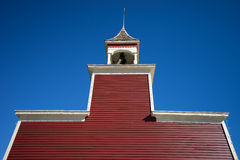 Southern wooden church tower in texas. Southern wooden church tower in goliad texas against the blue sky Stock Image