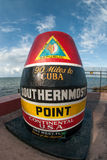 Southernmost Point of the Continental United States. A marker noting the southernmost point of the continental United States taken with a fish-eye lens Stock Images