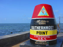 Southernmost Point Marker. Landmark replica of a buoy that marks the southernmost point in the continental United States in Key West, Florida.  Popular tourist Stock Image